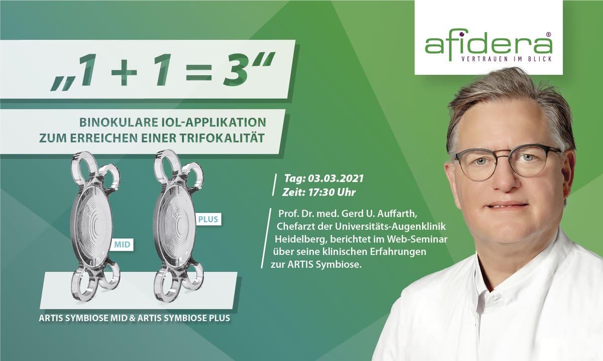 1+1=3: Binokulare IOL Applikation zum Erreichen einer Trifokalität - Anmeldung zum Live-Web-Seminar am 03.03.2021 um 17:30 Uhr